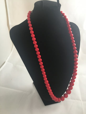 Necklace Graduated Red Bead Necklace