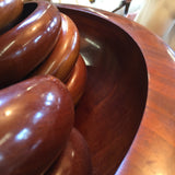 Large Wood Bowl with 12 matching Smaller Bowls