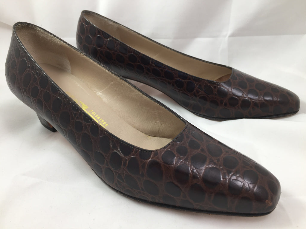 Shoes Ferragamo Women's Brown Heels 8 1/2 AA