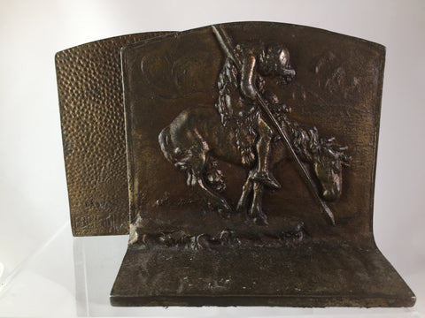 Bronze Warrior on Horseback Bookends set of 2