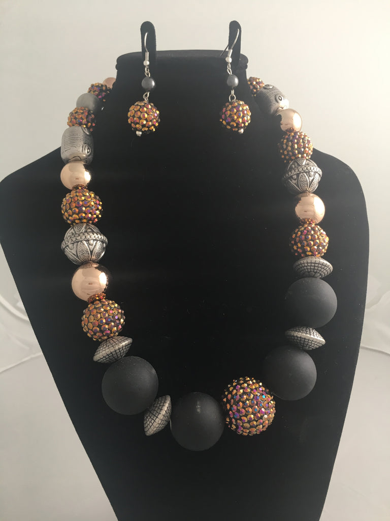 Orange Aurora, Pewter, Copper and Black Sphere/Bead Necklace and Matching Earring Set