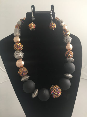 Orange Aurora, Pewter, Copper and Black Sphere/Bead Necklace and Matching Earrings Demi-Parure