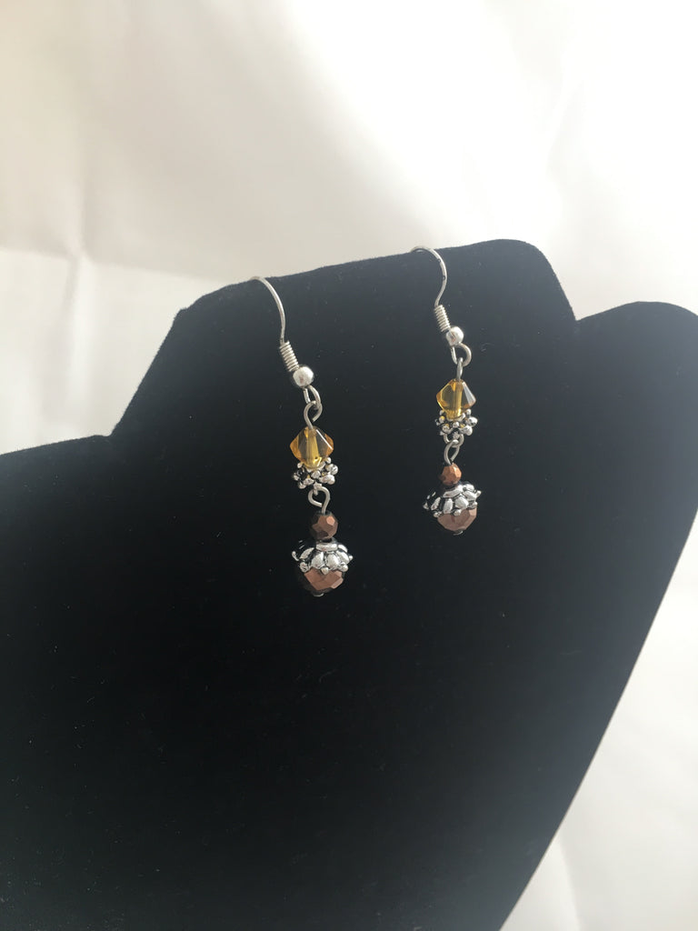 Earrings Boho Citrine and Garnet Crystal Earrings