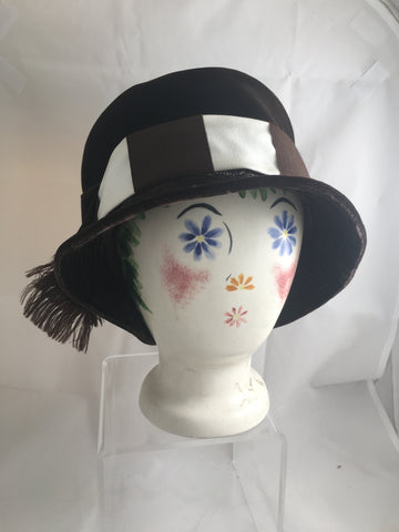 Hat Brown Velvet Cloche