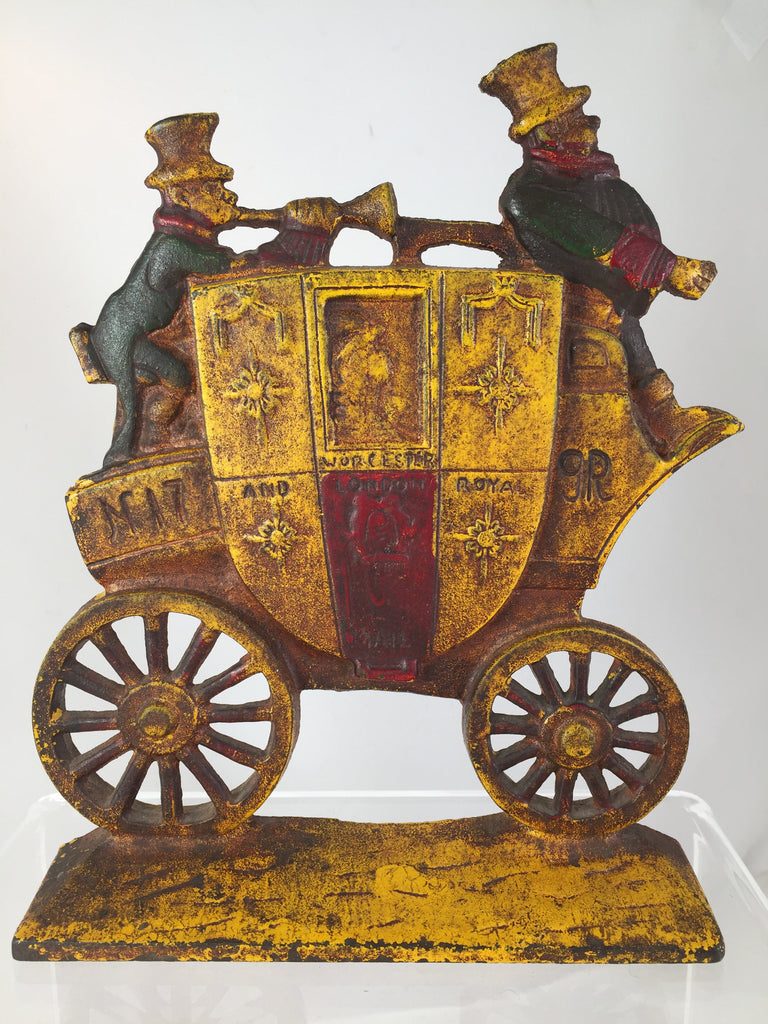 Cast iron NUYDEA Worcester and London Royal Mail Coach Bookend