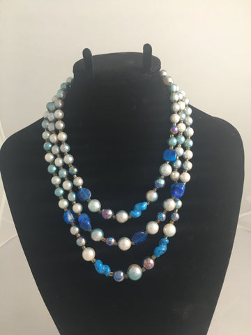 Vintage Japanese Blue Bead Necklace