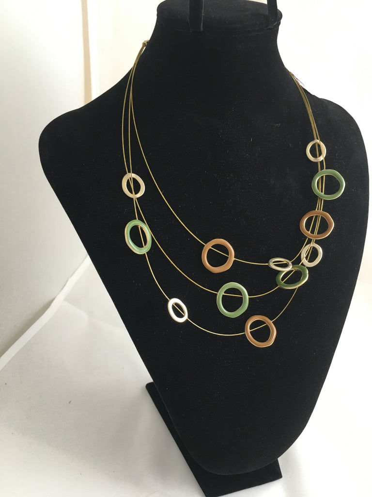 Necklace 3-strand Golden Circle Necklace