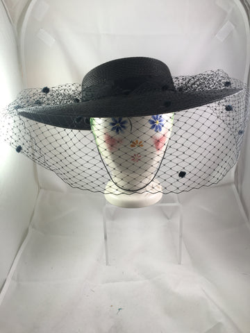 Hat Black Wide Brim and Veil SOLD