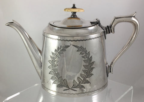 Kemp Bros Antique Silverplate Tea Pot from Bristol, England 1850-1899  SOLD