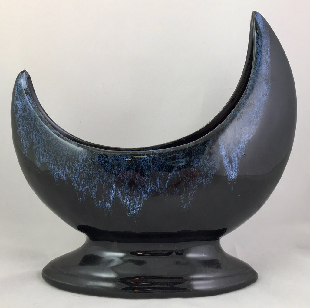 American Art Pottery Blue Drip Crescent Moon Signed Anna Van Briggle
