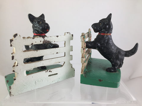 Hubley Cast Iron Scottie's on Fence Bookends set of 2