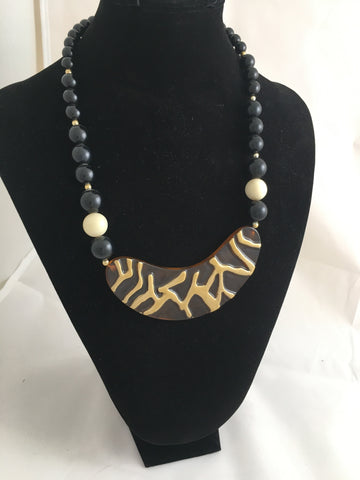 Necklace Lucite Black White and Golden Necklace