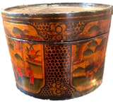 Chinese Lacquer Covered Round Box Container