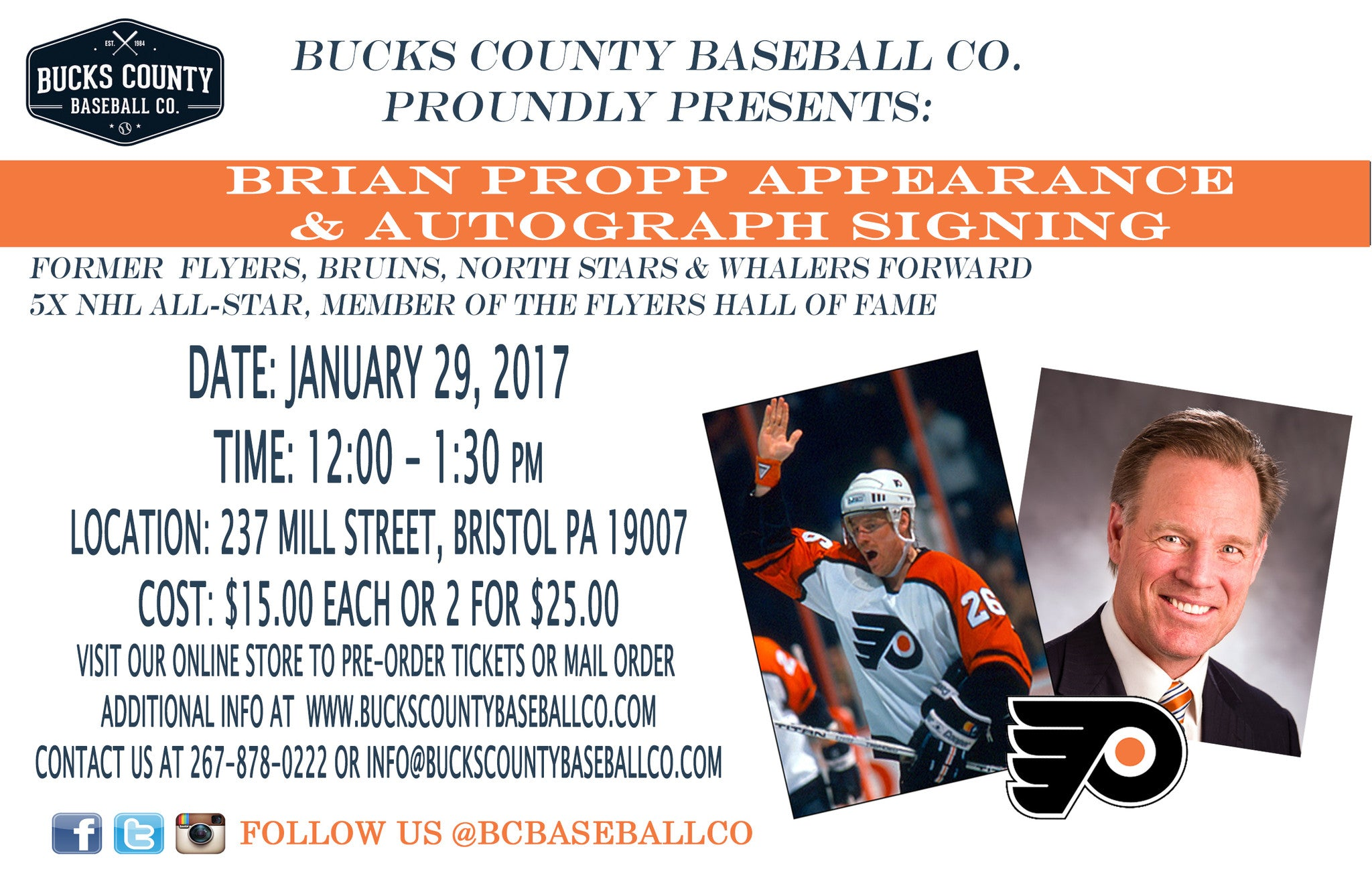 FLYERS LEGEND, BRIAN PROPP APPEARANCE & SIGNING ON JANUARY 29
