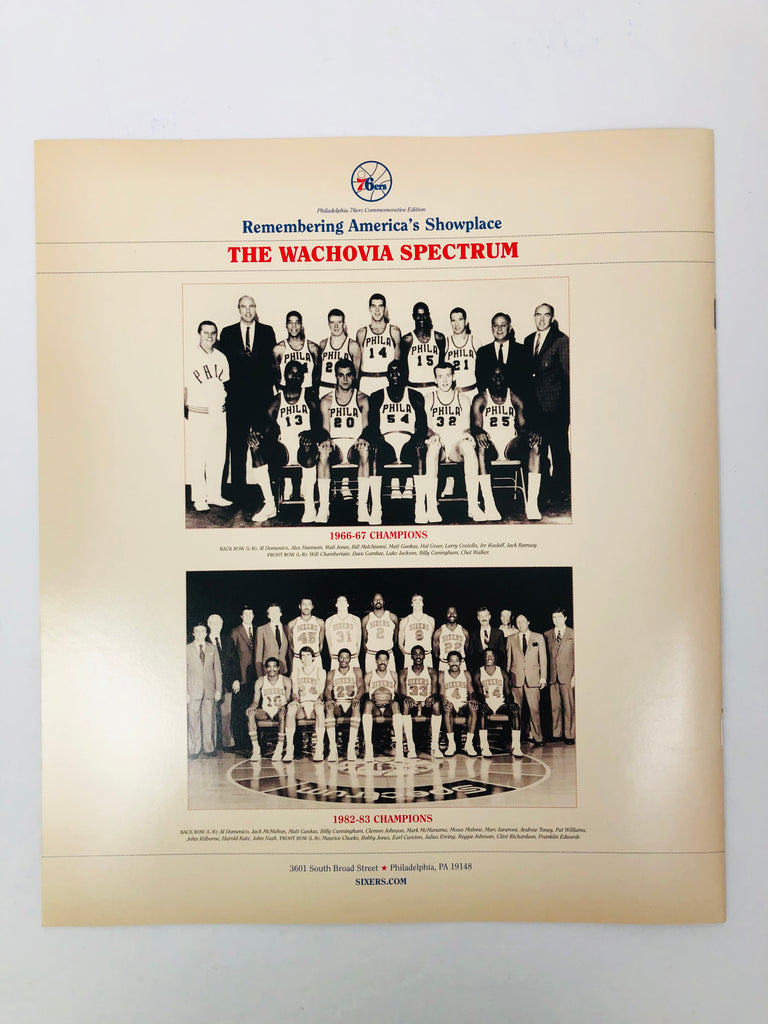 PHILADELPHIA SIXERS 76ERS 2009 LAST GAME AT SPECTRUM COMMEMORATIVE PROGRAM