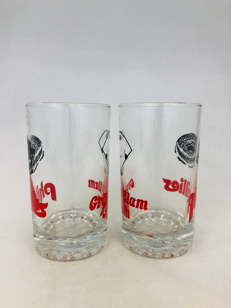 PHILADELPHIA PHILLIES VINTAGE 1980'S VETERANS STADIUM GRAND SLAM ROOM COCKTAIL GLASS SET