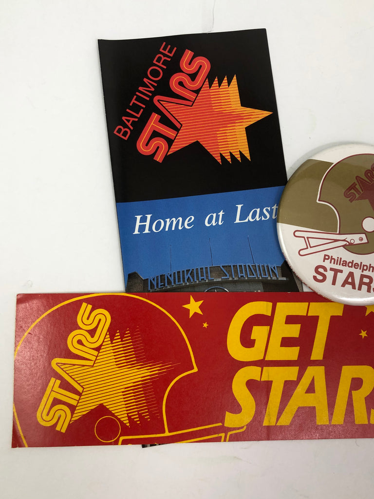 PHILADELPHIA STARS VINTAGE 1980'S USFL BUTTON, BUMPER STICKER & BROCHURE SET