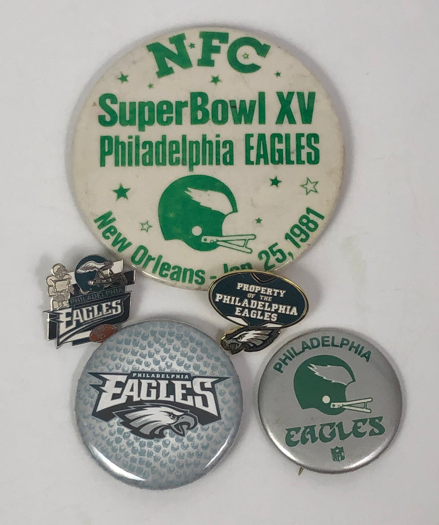 PHILADELPHIA EAGLES VINTAGE BUTTON & PIN SET
