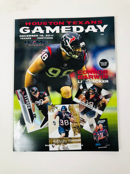 CONNOR BARWIN HOUSTON TEXANS 2011 GAMEDAY PROGRAM + ROOKIE CARDS (3) SET