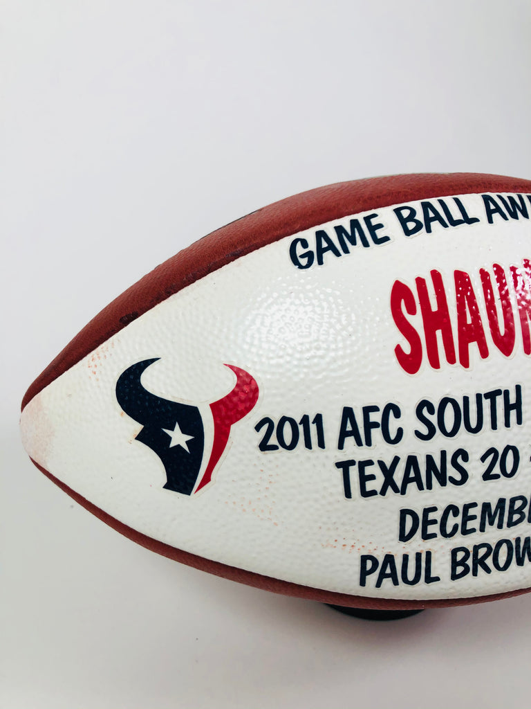 SHAUN CODY HOUSTON TEXANS TEAM ISSUED 2011 SOUTH DIVISION CHAMPS PLAYER GAME BALL