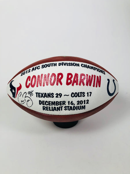 CONNOR BARWIN HOUSTON TEXANS TEAM ISSUED 2012 PLAYER SIGNED GAME BALL