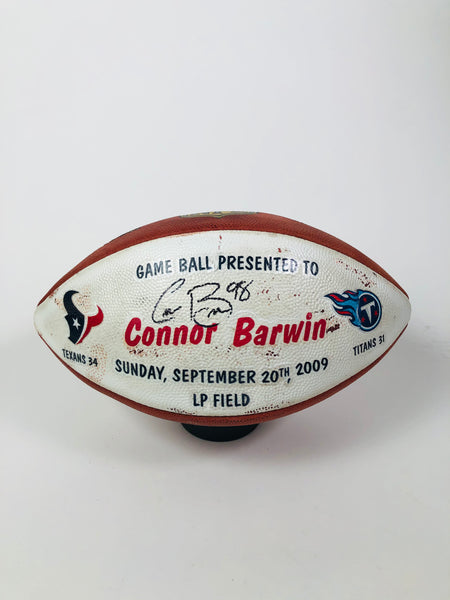 CONNOR BARWIN HOUSTON TEXANS TEAM ISSUED 2009 PLAYER SIGNED GAME BALL