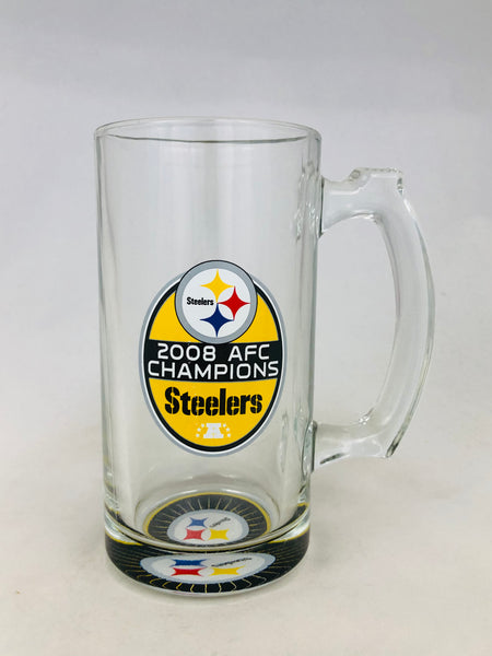 PITTSBURGH STEELERS VINTAGE 2008 AFC CHAMPIONS GLASS BEER MUG