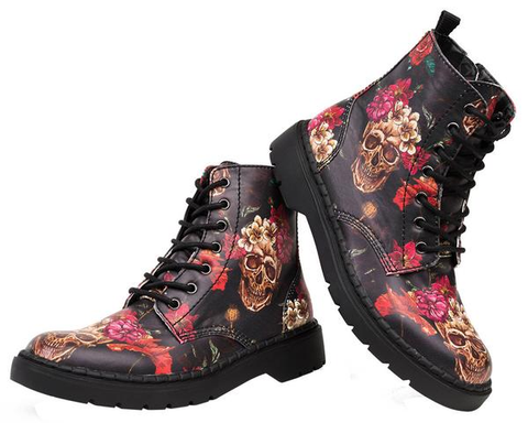 T.U.K. Shoes A9140 Unisex Leather Skull and Roses Lace Up Ealing Boot