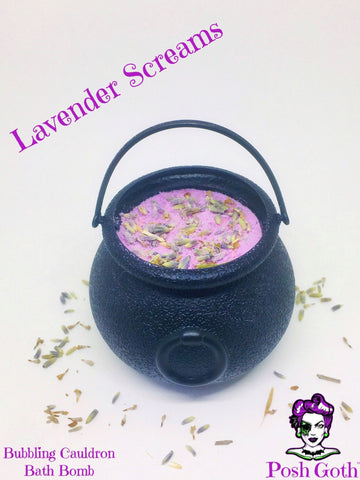 Bubbling Cauldron Bath Bomb in LAVENDER SCREAMS Scent by Posh Goth