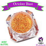 OCTOBER RUST Glam Goth™ Chunky Orange Body Glitter by Posh Goth