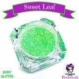 SWEET LEAF Glam Goth™ Chunky Lime-Green Body Glitter by Posh Goth