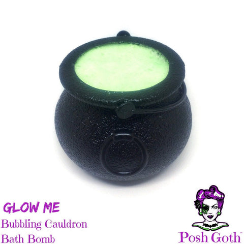 GLOW ME glow in the dark Vanilla Lime scented Bubbling Cauldron Bath Bomb by Posh Goth