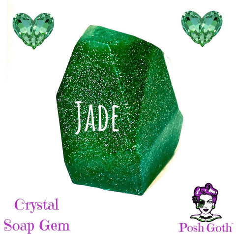 JADE Crystal Gemstone HEMP Soap - Oriental Floral Musk Scent by Posh Goth