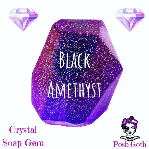 BLACK AMETHYST Crystal Gemstone HEMP Soap - Amber Musk and Floral Scent