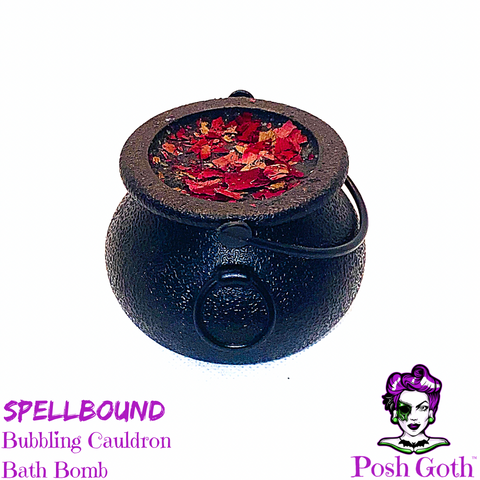SPELLBOUND Black Amethyst Scented Bubbling Cauldron Bath Bomb by Posh Goth