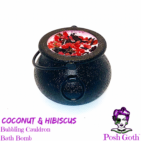 Tropical Hibiscus and Coconut Scent Bubbling Cauldron Bath Bomb