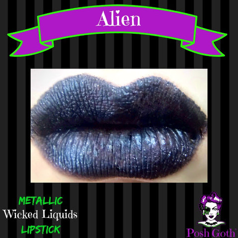 ALIEN Wicked Liquids™ Vegan Metallic Steel-Gray Liquid Lipstick by Posh Goth