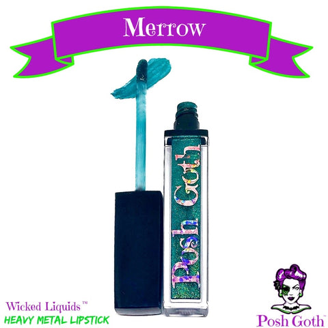 MERROW Wicked Liquids™ Metallic Teal Green Vegan Lipstick