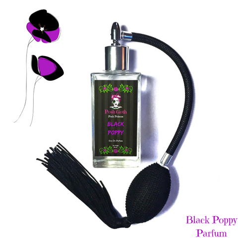Black Poppy Musk Scented Gothic Perfume 50 ml bulb spray