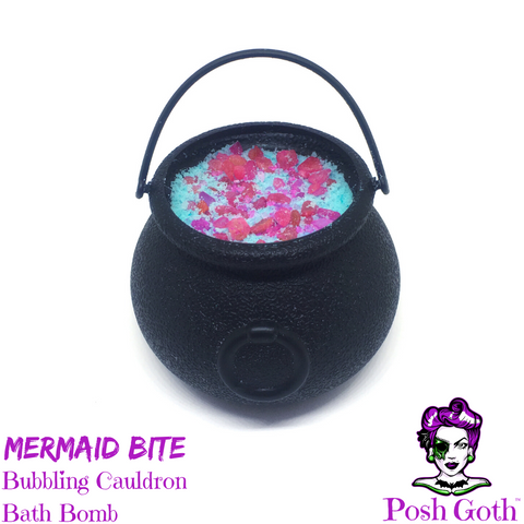 MERMAID BITE Tropical Fruit and Mint scented Bubbling Cauldron Bath Bomb by Posh Goth