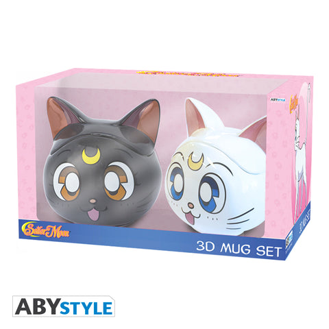 Sailor Moon - Set de regalo de taza 3D Luna & Artemis