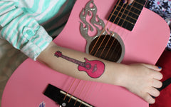 Miss Nina's Pink Guitar Temporary Tattoos (Tattly)