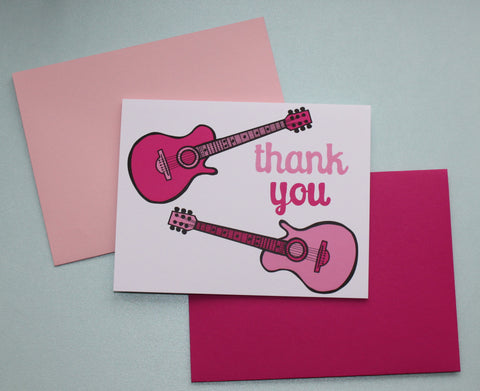 Pink Guitar Thank You Notes