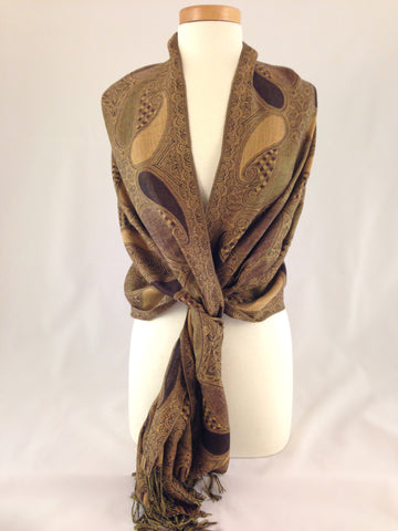 brown tan pattern pashmina
