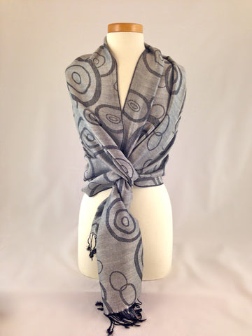 grey black pattern pashmina