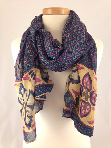 navy blue beige pattern scarf