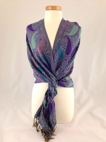 purple blue pattern pashmina
