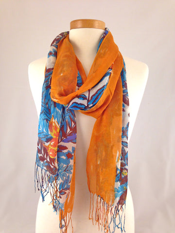 orange blue floral scarf