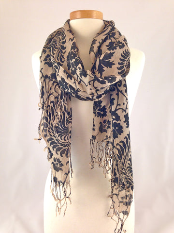 black beige pattern scarf