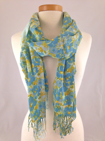 blue yellow floral scarf